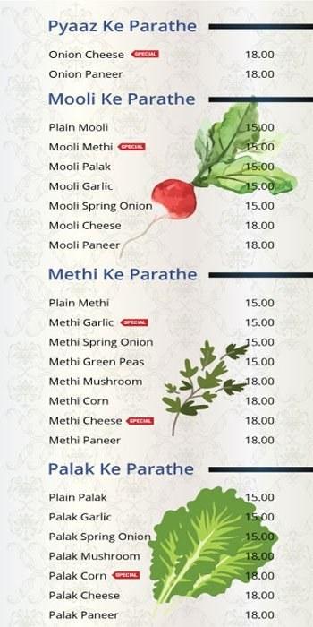 101 Parathas Menu8