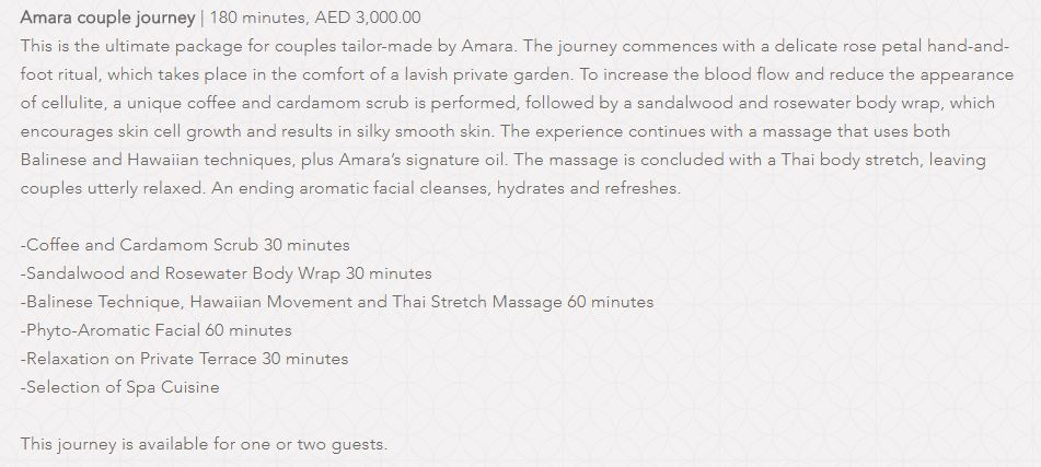 Amara Spa Park Hyatt Dubai Price1
