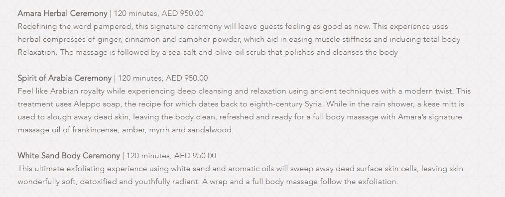 Amara Spa Park Hyatt Dubai Price4
