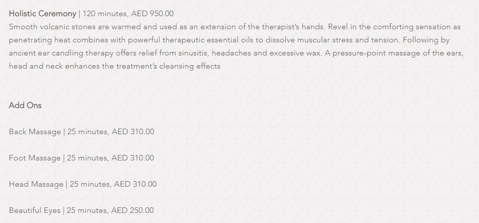 Amara Spa Park Hyatt Dubai Price5