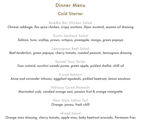 Buddha Bar Food Menu Pg 1