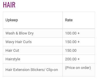 Posh Ladies Salon Price3