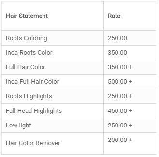 Posh Ladies Salon Price4