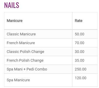 Posh Ladies Salon Price6