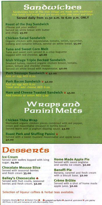 The Irish Village Menu3