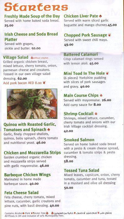 The Irish Village Menu7