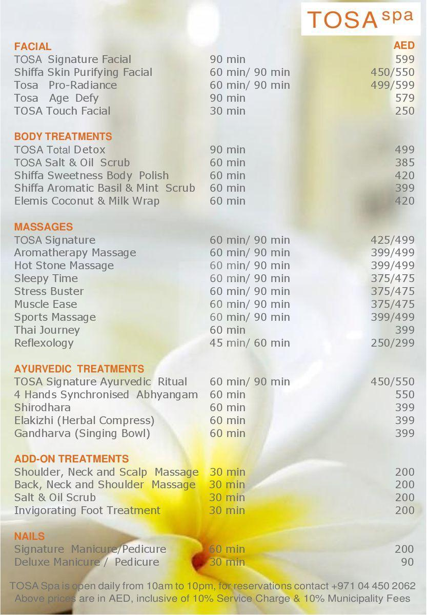 Tosa Spa Price1