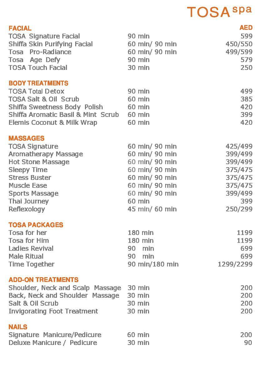 Tosa Spa Price2